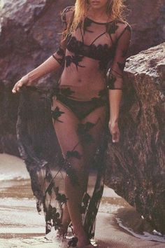Sheer black cover ups make such great beach outfits!