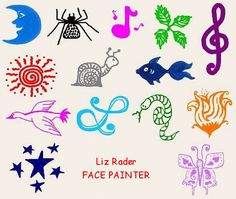 easy face painting designs | Liz Rader FACE PAINTER, Nashville TN Face Painting Easy Face Painting Designs, Cheek Art, Leg Painting, Initial Letters, Craft Fairs, Painting Techniques, Cute Designs, Halloween Face, Projects To Try
