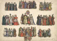 9/10 Vintage Illustration, Historical Costumes, Poland XVII Century, Eastern Europe, Jan Matejko, Ink & Watercolor