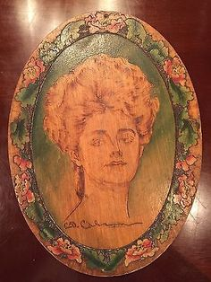 Vintage-Antique-Pyrography-Burned-Wood-Panel-Gibson-Girl-Art-Nouveau-From-1900