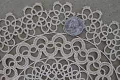 antique handmade tatted lace doily, early 1900s vintage table centerpiece
