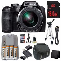 Fujifilm FinePix S9800 Digital Camera Black  16GB Bundle 1 ** Learn more by visiting the image link.