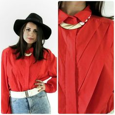 Vintage 80s red blouse/Pleated button down by girlsaboutcity