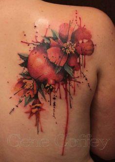 pomegranate watercolor tattoo I gene coffey