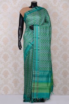 #Turquoise blue pretty printed #tussar #saree with dull gold border-SR18558