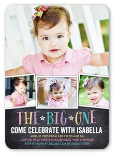 Chalkboard Celebration Girl 5x7 First Birthday Invitation Card by Poppy Studio. Another year older. Another year of fun. Invite all the guests with this stylish first birthday invitation. Just add your favorite photos and all the event details.