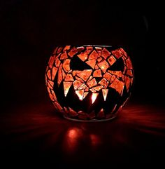 Pumpkin King Candle Holder Jack O Lantern Votive 35 inch Handcrafted Mosaic orange and black stained glass ** Details can be found by clicking on the image.