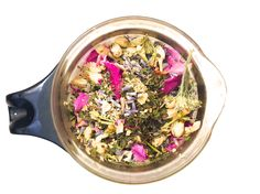 an herbal tea I made with yarrow . roses . lavdender . jasmine . peppermint . elderflowers . love . via good4youherbals.com #pretty #floral #tea