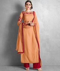 Buy Light Orange Georgette Pakistani Style Suit 74444 online at lowest price…