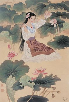 by Zhao Guo Jing & Wang Mei Fang 赵国经王美芳工笔仕女画, #Traditional Chinese Painting #Lady Painting #brushpainting #ink and wash painting #fineline