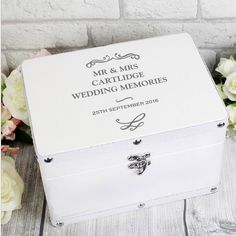 This stunning Antique Scroll White Keepsake Box is a perfect way of storing precious mementoes. The keepsake box can be personalised with a message over 4 lines of text, with up to 20 characters per line. Line 4 will appear slightly smaller. Wedding Memory Box, Wedding Keepsake Boxes, Wooden Keepsake Box, Wedding Keepsakes, Wedding Cards, Personalized Christmas Gifts, Christmas Gifts For Her, Personalized Wedding Gifts, Personalised Gifts