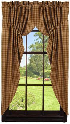 Lambs /& Ivy Americana red /& blue hearts plaid window valance living room kitchen