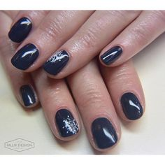 Snowflakes on CND Shellac 'Indigo Frock'