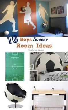 From paint ideas to decor to cute soccer themed furn… 10 Boys Soccer Room Ideas! From paint ideas to decor to cute soccer themed furniture, great for kids and teens. Bedroom Themes, Girls Bedroom, Bedroom Decor, Bedroom Ideas, Decor Room, Wall Decor, Soccer Room Decor, Football Rooms, Diy Room Decor For Teens