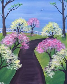 """Fundraiser for Alpha Delta Kappa - Epsilon """"Spring Trail"""" Easy Canvas Painting, Simple Acrylic Paintings, Spring Painting, Diy Painting, Painting & Drawing, Canvas Art, Beginner Painting, Learn To Paint, Pictures To Paint"""