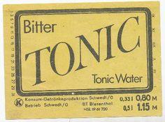 """DDR Museum - Museum: Objektdatenbank - Etikett """"Bitter Tonic Tonic Water""""    Copyright: DDR Museum, Berlin. Eine kommerzielle Nutzung des Bildes ist nicht erlaubt, but feel free to repin it!"""