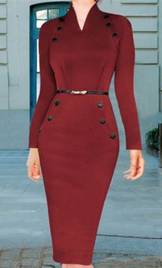 Stylish V-Neck Buttoned Long Sleeve Bodycon Dress For Women