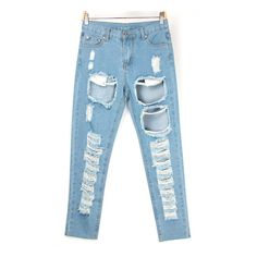 SheIn(sheinside) Bleached Ripped Blue Denim Pant ($22) ❤ liked on Polyvore featuring jeans, blue, torn jeans, denim jeans, distressed jeans, long jeans and zipper jeans