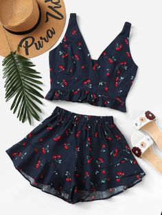 Cherry Print Frill Hen Top With ShortsFor Women-romwe - Cute Outfits Cute Comfy Outfits, Cute Summer Outfits, Pretty Outfits, Stylish Outfits, Girls Fashion Clothes, Teen Fashion Outfits, Girl Fashion, Girl Outfits, Jugend Mode Outfits