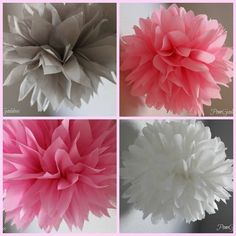 5 Tissue Paper Pom Poms - Birthday- Nursery Decorations - Pink Elephant on Etsy, $12.00