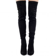 7e522998550 Belle Over The Knee Lace Up Back Boots In Black Faux Suede long casual  daytime evening pointed block heel OTK