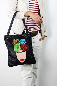 Frida Black Leather Tote Bag/Black Crocodile by NeroliHandbags