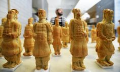 Chinese Terracotta Army created out of Pizza Dough. .. kind of cool.. but also kind of crazy lol