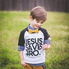 Jesus saves, bro baseball tee Boys Closet, Clay Design, Jesus Saves, Clothing Co, Baby Gear, Baby Love, Kids Fashion, Bro, T Shirts For Women