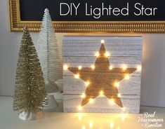 DIY Lighted Star Christmas Craft - Housewives of Riverton Diy Christmas Star, Christmas Is Coming, Holiday Crafts, Christmas Stuff, Xmas, Homework Box, Homework Station, Laundry Table, Sustainable Design