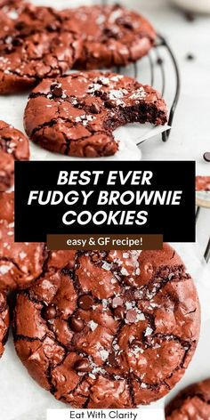 These fudgy gluten free brownie cookies are the best way to satisfy your chocolate craving! They're ready in 20 minutes, easy to make and bound to impress with their shiny and crackly brownie tops. A foolproof gluten free cookie recipe! #glutenfreecookies #browniecookies Vegan Chocolate Cookies, Brownie Cookies, Chocolate Flavors, Yummy Cookies, Chocolate Recipes, Healthy Dessert Recipes, Vegan Desserts, Just Desserts, Yummy Snacks