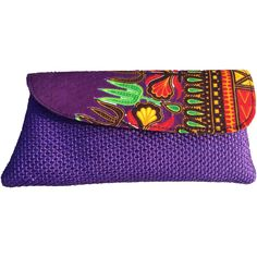 Handmade African clutch with shwe shwe fabric detailing ($25) ❤ liked on Polyvore featuring bags, handbags, clutches, purple purse, purple handbags, african purses, african print handbags and african handbags