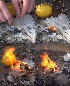 How to light a fire. with a lemon!
