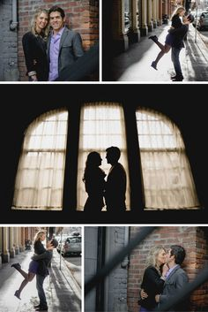 Matt Shumate Photography urban engagement session with gorgeous engaged couple in downtown Spokane portraits by an old brick building on the sidewalk next to street and  silhouette in front of the window