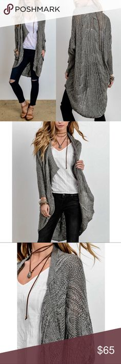 AMANDA Uber soft knit cardigan - CHARCOAL LOng sleeve cardigan. Great for all year round wear. Light & breathable. Can be styled so many ways.   Available in Charcoal & Cream  Fabric POLY/ACRYLIC  NO TRADE  PRICE FIRM Bellanblue Sweaters Cardigans