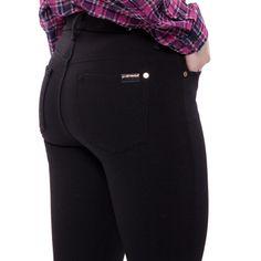 Black Double Knit Slim Illusion Skinny Ankle Pants