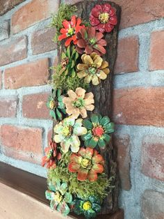 Nature Crafts Handmade Wood Framed Pinecone Flowers With Moss Log Framed Pine Cone Art, Pine Cone Crafts, Pine Cones, Primitive Christmas, Rustic Christmas, Primitive Crafts, Christmas Christmas, Pine Cone Decorations, Christmas Tree Decorations