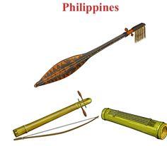 FILIPINAS Up/Down, left to right. 1.- Hegelung: chordophone / lute family. 2.- Litguit: chordophone. 3.- Kulibit (Bamboo chordophone / zither family