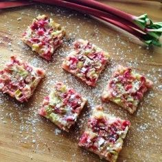 Rhubarb Bars  Deliciously tangy sweet rhubarb bars with a sweet shortbread crust