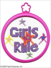 Bucilla ® My 1st Stitch™ - Counted Cross Stitch Kits - Mini - Girls Rule. Included are easy to learn instructions with how-to steps showing you how its done. #plaid crafts #knitting #crafts