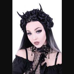 Deer Antlers Beads & Black Roses Headband by Restyle