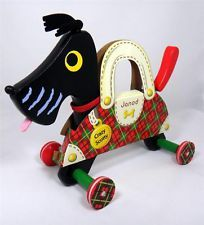 Janod Crazy Scotty Dog Wooden Pull Toy for Toddlers NEW