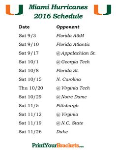 Printable Miami Hurricanes Football Schedule 2016