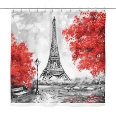 Paris in Red Shower Curtain
