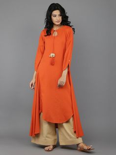 Orange 'Baby Elephant' tassel Khadi Kurta and Beige Palazzo - Set of 2