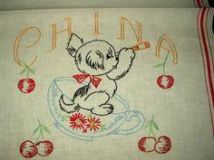 Vintage 1930 1940 Retro Embroidery Dog Cherries Stripe Kitchen Dish Towel - The Gatherings Antique Vintage