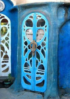 Dreaming Beautiful ornate blue door Cafe Eutopia in New Zealand by shelly Cool Doors, Unique Doors, Entrance Doors, Doorway, Entrance Ways, Door Knockers, Door Knobs, Front Door Colors, Gates