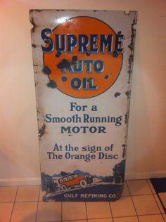 Supreme Auto Oil Gulf Vintage Porcelain Sign by BmoreUnique on Etsy https://www.etsy.com/listing/179456392/supreme-auto-oil-gulf-vintage-porcelain