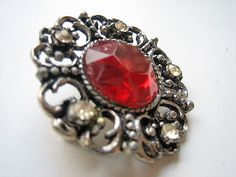 "Vintage ruby red brooch costume jewelry piece vintage brooch - thinking about wearing to wedding for that little ""pop"" of red on a black dress"