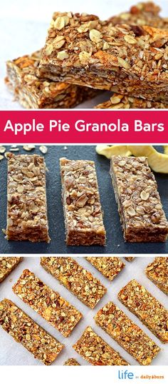 Apple Pie Granola Bar Recipe: 2 cups rolled oats 1/2 cup shredded, unsweetened coconut 1/2 cup pecans, chopped 1/3 cup dates 1/4 cup coconut oil 1 teaspoon vanilla 1/3 cup honey 1 tablespoon cinnamon 1/2 teaspoon nutmeg 1 cup dried apples, chopped
