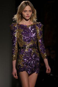 Balmain - Gold / Purple Sequin Cocktail Dress